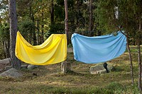 Bed sheet hanging on a clothes line (thumbnail)
