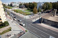 Street scene in a residential district, tilt_shift, Berlin, Germany
