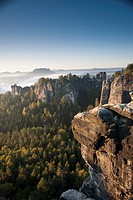 The Bastei in the morning, Elbe Sandstone Mountains, Saxon Switzerland National Park, Germany