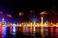 Skyline of Victoria Harbour at night, Hong Kong
