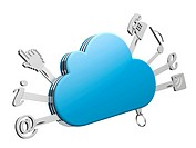 Cloud computing concept with ´swiss cloud´