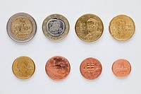 Greek euro coins arranged in numerical order, rear view