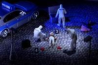 A diorama of a miniature forensics team collecting evidence at a murder scene (thumbnail)