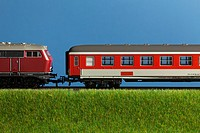 A miniature toy passenger train