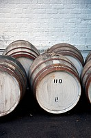 Wooden barrels at a whiskey distillery (thumbnail)