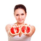 Beautiful woman with grapefruit