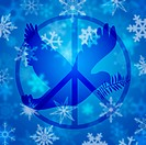 Christmas Peace Dove and Sign Symbol with Snowflakes Illustration