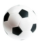 Toy of little soccer ball isolated over white background