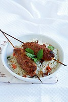 Lamb koftas with minted rice pilaf