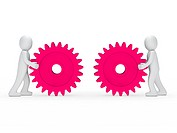 3d men push gear pink to connecting