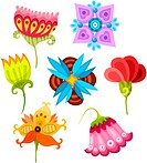 vector illustration of a cute flower set