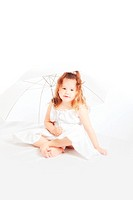 portrait of attractive young girl in white dress with umbrella