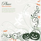Halloween background with bat, pumpkin, floral, vector illustration