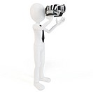 3d man with video camera on white background