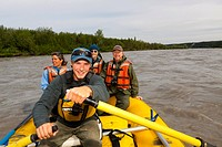 Guests of Copper River Princess Lodge on guided rafting trip, Copper River, Copper Center, Southcentral Alaska, Summer