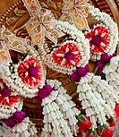Puang malay, flower garlands at Buddhist temple in Thailand