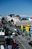 Aerial view of downtown Anchorage along 4th Ave., Southcentral Alaska, Summer