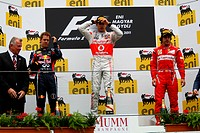 podium: 1st Jenson Button GBR, McLaren Mercedes, MP4_26, 2nd Sebastian Vettel GER, Red Bull Racing, RB7, 3rd Fernando Alonso ESP, Scuderia Ferrari, F_...