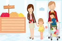 A vector illustration of a family doing grocery shopping