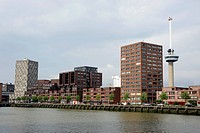 Euromast Tower, Mullerpier and St. Jobshaven Harbour, modern architecture along the Nieuwe Maas River, Rotterdam, Holland, Nederland, Netherlands, Eur...