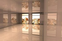 Interior visualisation of a empty Apartment in Sao Paulo. 3D rendered illustration.