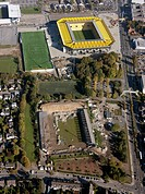 Aerial view, Old Tivoli stadium and New Tivoli stadium, built in 2009, Alemannia Aachen soccer stadium, Aachen, North Rhine-Westphalia, Germany, Europ...