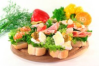 different colored Canapes on a white background