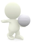 3D volleyball player serving isolated over a white background