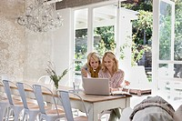 Women using laptop at dining room table