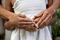 Close up of older woman and granddaughter&#8217;s hands