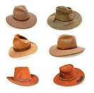 Collection of Australian bush hats, well isolated on white. Please see my portfolio for full_size individual images.