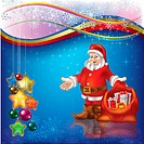 Christmas greeting with Santa Claus and gifts on blue, Image contains gradient mesh