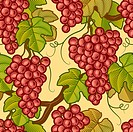 Seamless grapes background in woodcut style. Vector illustration with clipping mask.