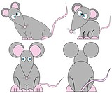 Set of Cute Crazy Cartoon Mice EPS 8