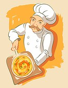 Illustration in a loose brushy style of a pizza chef holding a pizza on a pizza plank as used with a brick oven. He is wearing a chef´s hat and jacket...