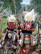 Men of Mendi from the Southern Highlands, headdress has King of Saxony plumes and breast shield of Superb Bird of Paradise plus plumes from Blue bird ...