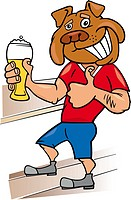 bulldog man with glass of beer cartoon illustration
