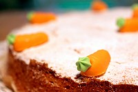 Close up of Carrot cake with marzipan carrots