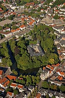 Aerial view, Fuerstliches Residenzschloss Detmold or Princely Residence castle Detmold, Ostwestfalen-Lippe, eastern Westphalia, North Rhine-Westphalia...
