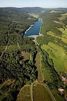 Aerial view, Oester dam, Plettenberg, Sauerland, North Rhine-Westphalia, Germany, Europe