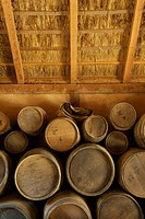 Jamestown Settlement, Virginia, United States.Interior of a storeroom at Jamestown Settlement.