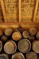 Jamestown Settlement, Virginia, United States.Interior of a storeroom at Jamestown Settlement.