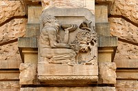 Relief, man with grapes, Stadttheater Freiburg theatre, built in 1905 in neo-baroque style, Bertoldstrasse street 46, Freiburg, Baden-Wuerttemberg, Ge...