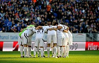 Team of 1. FC Kaiserslautern footbal club, in a circle before kick_off, WIRSOL Rhein_Neckar_Arena, Hoffenheim_Sinsheim, Baden_Wuerttemberg, Germany, E...