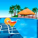 Poolside Party Background. Contains a gradient mesh Illustrator 10
