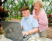 Senior couple on the internet reading a very funny e_mail.
