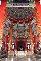 Interior of Temple of Heaven in Beijing..Interior of Hall of Prayer for Good Harvests at Temple of Heaven in Beijing.