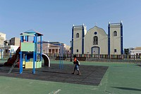 Igreja Santa Isabel church and playground in Sal Rei, Boa Vista, Cape Verde, Africa