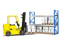 Forklift loading Pallet Rack.Part of a Blue and yellow Warehouse and logistics series.