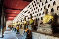 Buddha statues, Wat Sisaket temple, Vientiane, Laos, Indochina, Asia